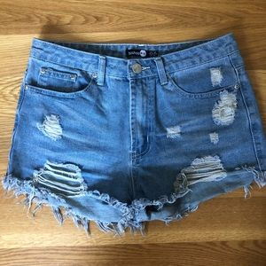 Boohoo High Rose Denim Shorts